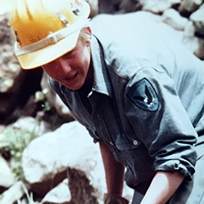 Maia on an SCA trail crew in the Colorado Rockies, 1984.