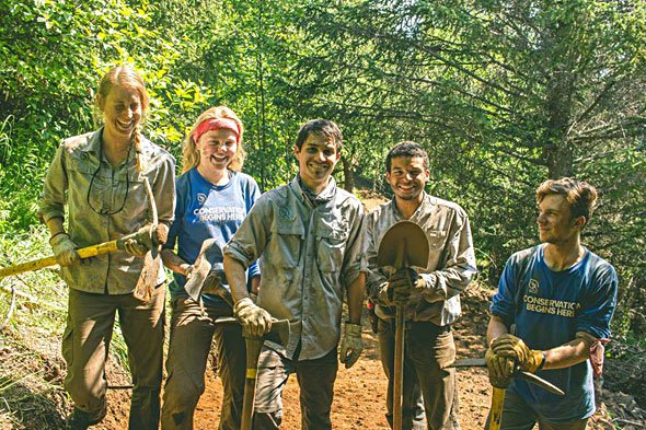 SCA Alaska Corps Team members enjoying a sunny work day