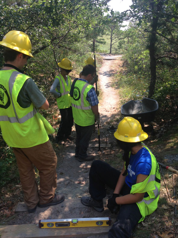 SCA Crew doing Trail Maintenance work on Cape Cod's National Seashore