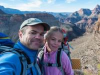 Michael A. Lanza, outdoor adventurer and creator of TheBigOutside.com, backpacking with his daughter at Grand Canyon National Park.