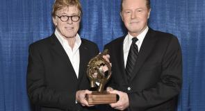Robert Redford and Don Henley presenting the SCA with Walden Woods Award. Photo by Kevin Mazur