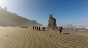 An SCA marine debris removal crew on a typical day along the beautiful Olympic coast.