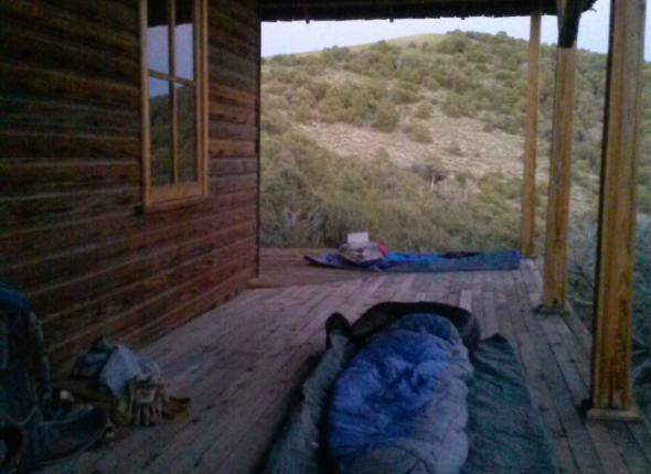 The crew slept on the porch of a historic building in the Inyo Mountain Wilderness. Not the worst place we have slept during the program.