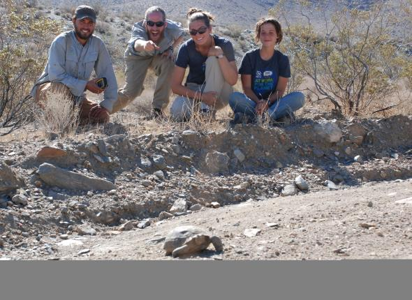 Kyle, Tyler, Rachel and Grace spot the first of the two desert tortoises seen during AllCorps