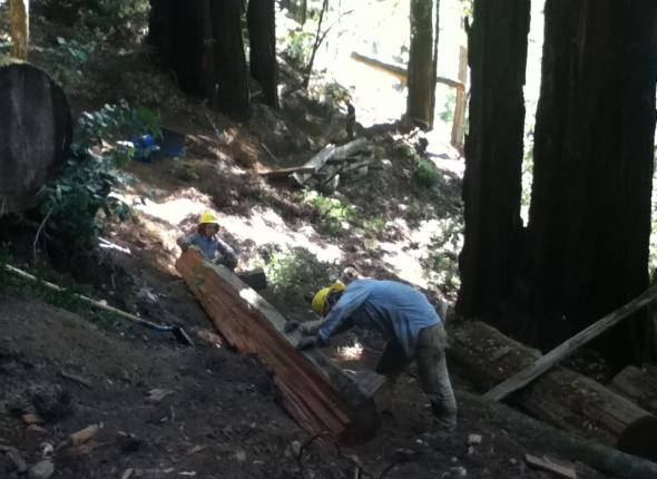 The crew works tirelessly (sans photographer) on constructing and reinforcing 2 retaining walls.
