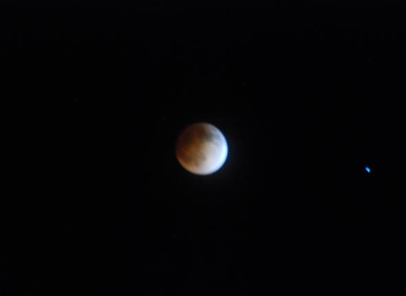 The Blood Moon as seen by Tyler, Dan and Hailee at Wagon Wheel around midnight