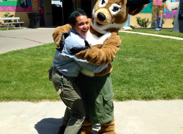 Leslie likes hugs, even from antelopes in cargo shorts