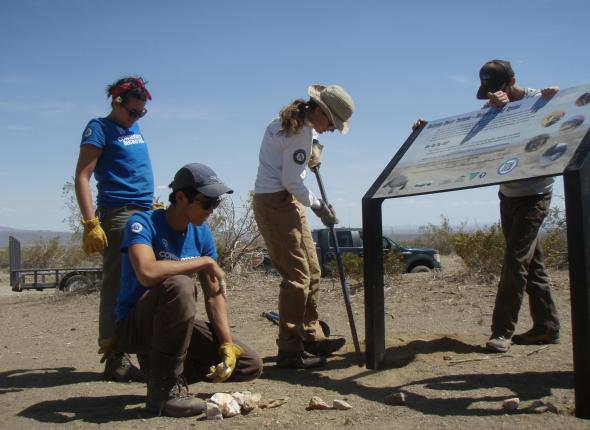 Working together on the interpretive sign