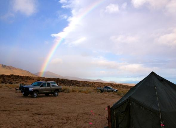 Post-storm rainbow at camp!