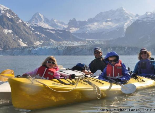 Michael A. Lanza, outdoor adventurer and creator of TheBigOutside.com, kayaking with his family in Alaska's Glacier Bay National Park.