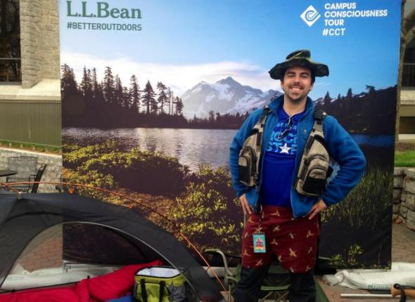 Daniel Penzi of the SCA Reverb Tour Crew models an assortment of L.L. Bean gear stuffs