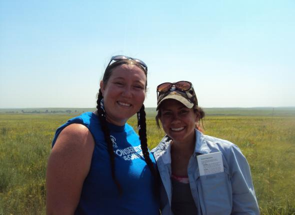 Christa, Abby, and the tallgrass.