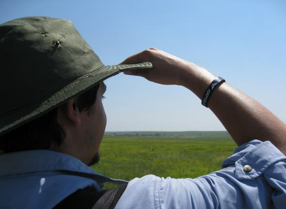 Ryne on the lookout for bison.  Abby might attract them.
