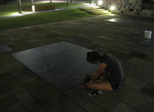 Alaina leaving a note at the OKC National Memorial.