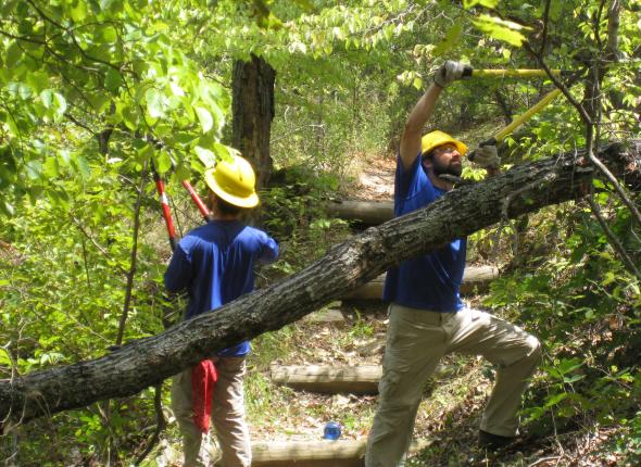 Jeff and Josh lopping back the brush on the Tenkiller Overlook trail.