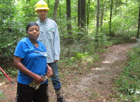 AFTER Nakeda, Brendan and Donovan Slough trail restoration at the Natchez Trace Parkway