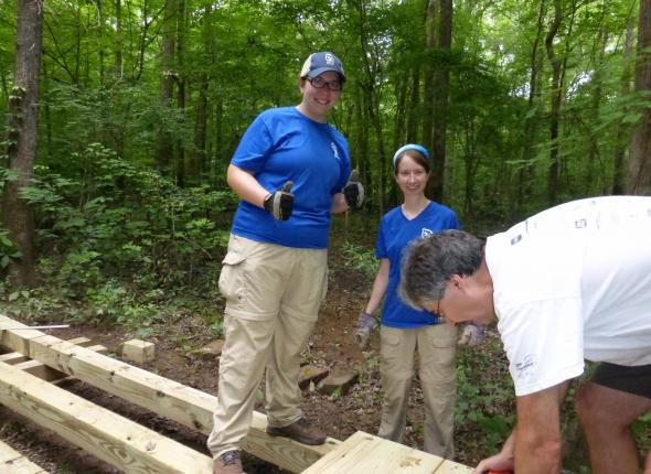 Alison and Meg love trail building!
