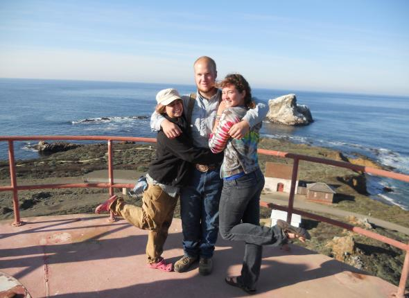 Josh, Carolyn, and Sarah on top of the Piedras Blancas lighthouse.