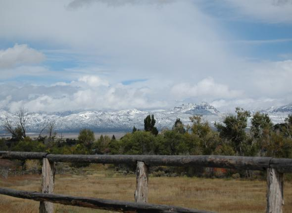 View of the snow from the bunkhouse