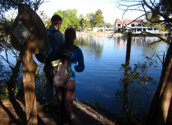 That's right, the St. Mark's River Crossing requires hikers to hitchhike with a boater!