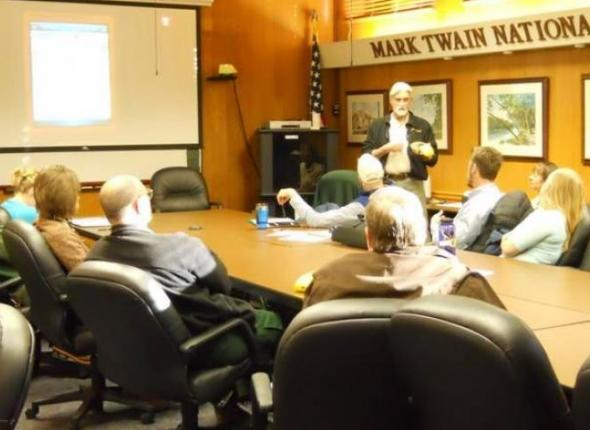 Wilmer Scott, Mark Twain Forest teaches Student Conservation Assoc. crews how to use Global Positioning Systems.