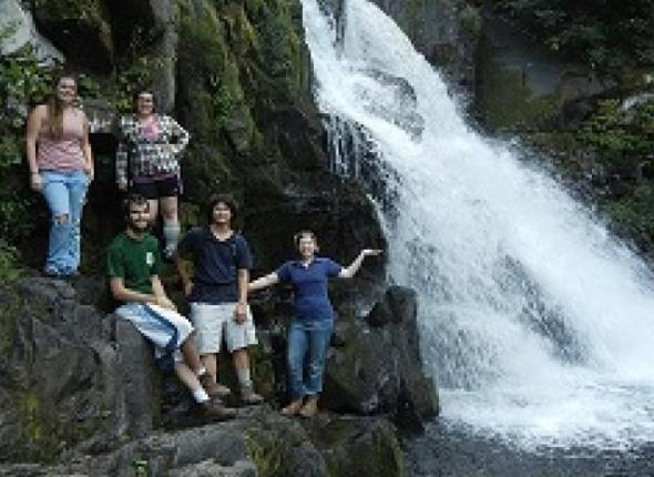 The team at Abrams Falls, in The Great Smoky Mountains trip