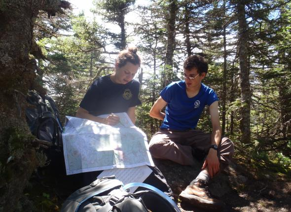 Looking at the map 100 ft. from the summit of Algonquin Trail, awaiting the crowds to clear...