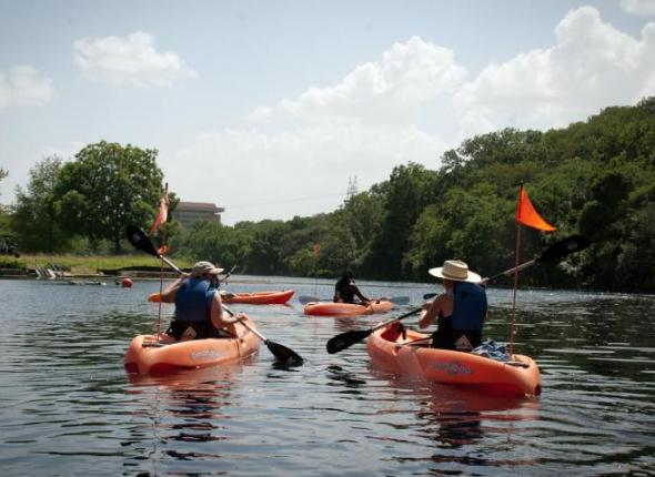 The Texas team kayaking