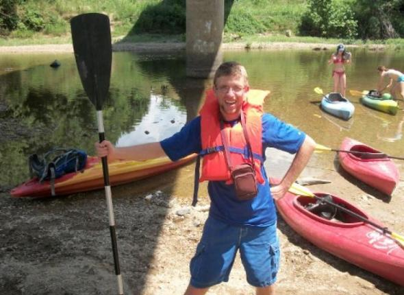 Brendan is safe and ready from kayaking in Arkansas!!