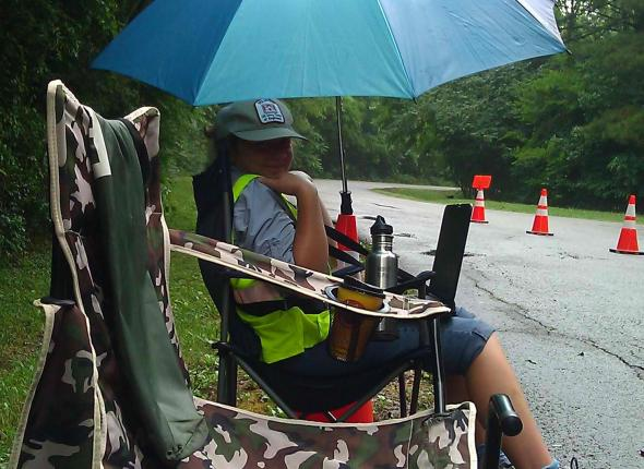 Brenna in the rain