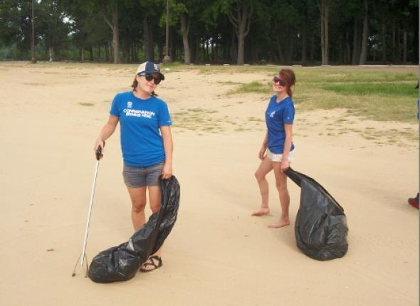 Conservation Day! Trash pick up at Paradise Point, Sardis Lake. Sophie and Amanda