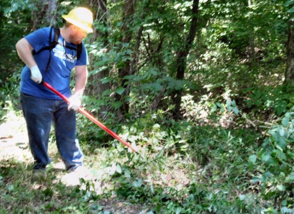 John doing trail restoration at the Donavan Slough on the Natchez Trace Parkway