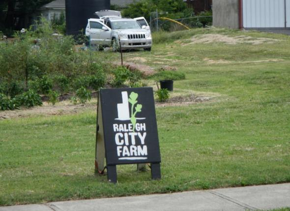 Arriving at the Raleigh City Farm!