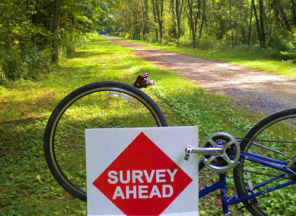 shout your zip code sign on Rockwood Trail Count