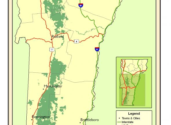 Map of the Green Mountain National Forest