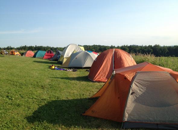 One of many lines of tents