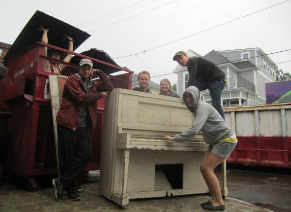 and to our manifestation. we dumsptered a piano!