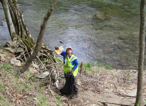 Smoky Mountain Clean-Up: Leah is very sad about fast food in the waterway.