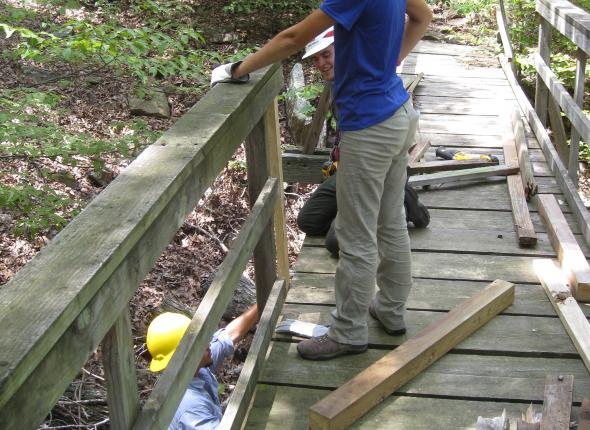 Alaina during pedestrian dridge repairs at the Overlook Trail of Tenkiller Ferry Lake.