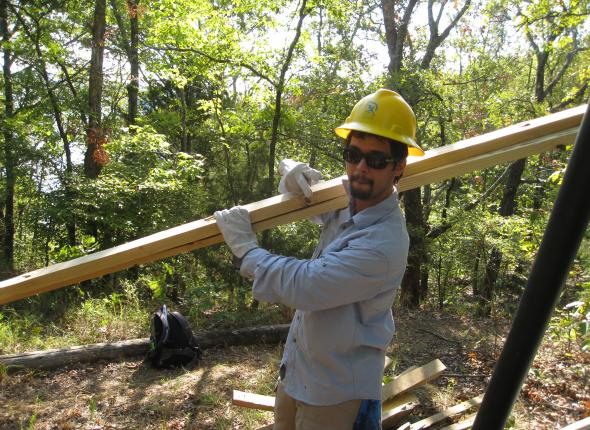 Jeff helping to complete the pedestrian bridge repairs.
