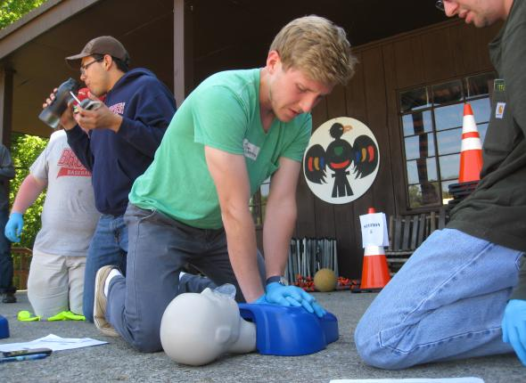 Ben saving a life during CPR training.