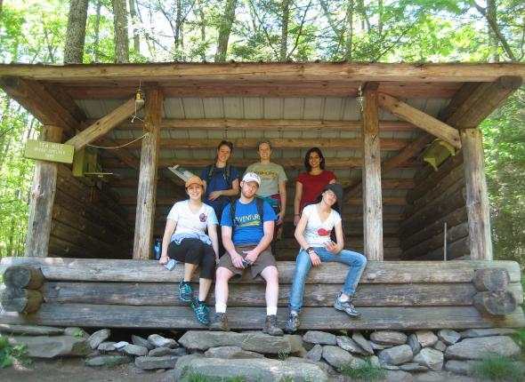 Stacy, Jeff, Jenna (yes she is that hood), Chamae, Kayla & Bijal at an Appalachian Trail shelter.
