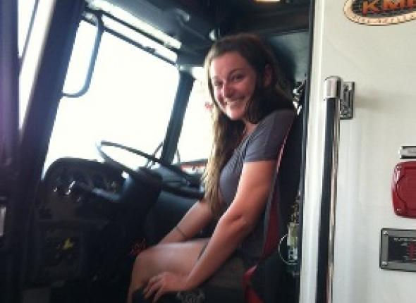 Jenna had the firefighters at Allen Volunteer Fire Department instruct her on operating an engine