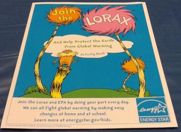 The cover of the Lorax workbook we give kids who participate in our children's component