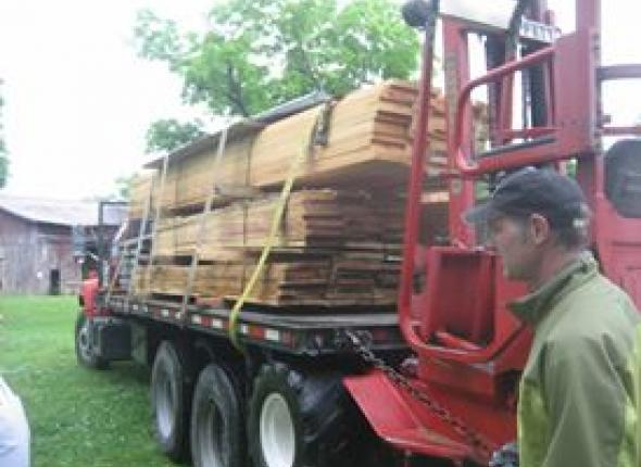 Lumber delivery for barn restoration