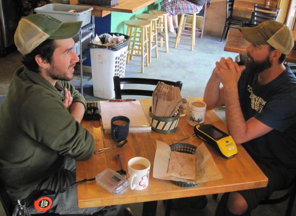 Mike and Michael at Two Sisters Bakery, along the Beluga Slough Trail, Homer, AK