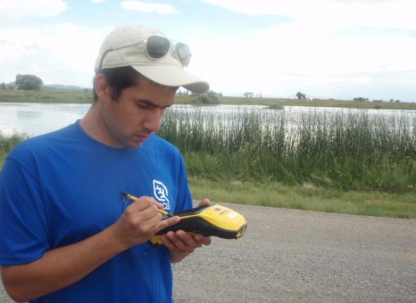 Mike Using the Trimble in Monte Vista NWR