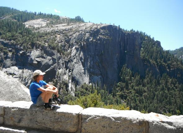 Nastia admiring the view at Yosemite NP