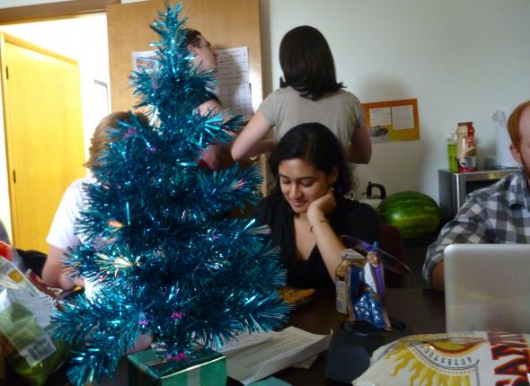 Bijal pondering the meaning of half Christmas, plus a bonus half Jeff