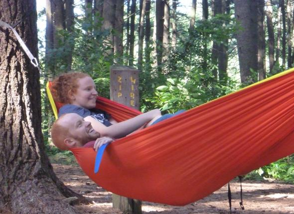 The red-heads in the red hammock